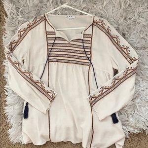 Boho long sleeve embroidered top